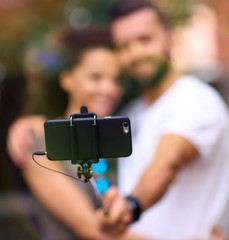 Happy traveling couple making selfie, romantic mood.