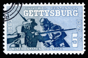 Vintage 1961 United States of America cancelled postage stamp  showing Civil War Centennial Battle of Gettysburg 1863-1963