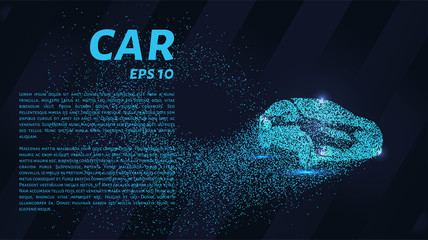 Car from the particles. The car consists of dots and circles. Blue car on dark background.