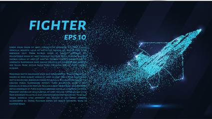 Fighter of the particles. Military aircraft consists of dots and circles. Blue fighter on a dark background.