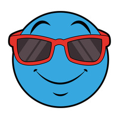 Emoji with sunglasses vector illustration graphic design