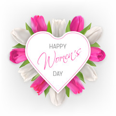 Happy Women day card with tulips