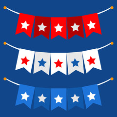 Vector illustration background with bunting flags for happy Presidents Day