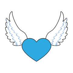 Heart with wings and ribbon banner vector illustration graphic design