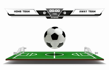 Football or soccer playing field with infographic elements and 3d ball. Sport Game. Football stadium scoreboard on white background vector illustration