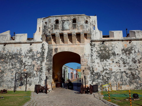 The entrance gateway to the walled city of Campeche in Mexico