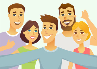 A group of friends - cartoon people character isolated illustration