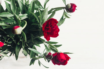 beautiful red peonies blooming bouquet on white wooden rustic background, flat lay. greeting card with space for text. hello spring. happy womens day. blooming flowers top view