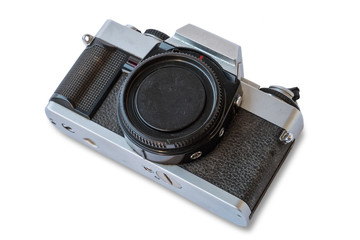 Old vintage black and silver camera on white background, isolated
