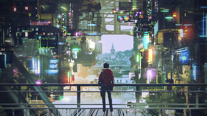 man standing on balcony looking at futuristic city with colorful light, digital art style, illustration painting Fotobehang