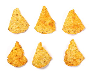 Set chili tortilla chips pile isolated on white background
