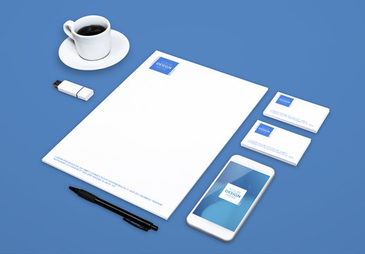 Smartphone and Stationery on Solid Background Mockup 1