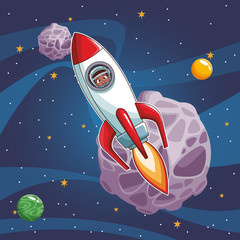 Astronaut boy flying on spaceship vector illustration graphic design