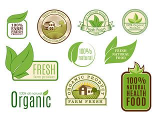 Organic vegan vector logo labels healthy food eco restaurant logo badges nature diet product illustration