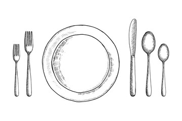 cutlery vector sketch set. spoon fork and knife near the plate. table setting