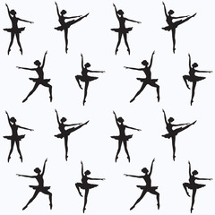 Pattern - silhouettes of ballerinas - white background - vector art illustration.
