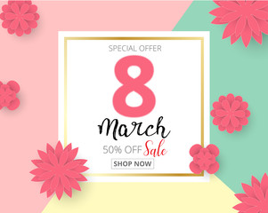International Happy Women's Day 8 March holiday background with paper cut Frame Flowers. Trendy Design Template. Vector illustration.