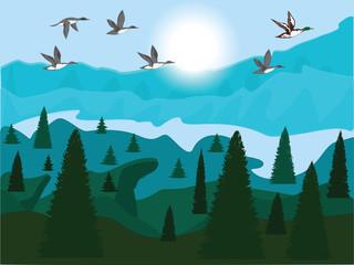 Flock of flying ducks - sunrise - Mountain and forest landscape - vector art illustration. Travel Poster.