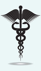 Symbol of modern medicine - The Caduceus Of Hermes - isolated on white background - vector art illustration