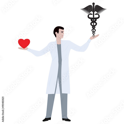 Doctor Male In Medical Uniform In One Hand Holds A Symbol Of