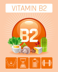 Riboflavin Vitamin B2 rich food icons. Healthy eating flat icon set, text logo, isolated background. Diet Infographics chart banner. Cheese egg asparagus nut. Table vector illustration, human benefits
