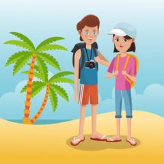 Tourists in the beach cartoon vector illustration grapic design