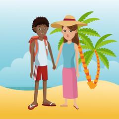 Tourist in the beach cartoon vector illustration grapic design