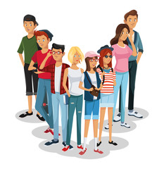 Young people cartoons vector illustration grapic design