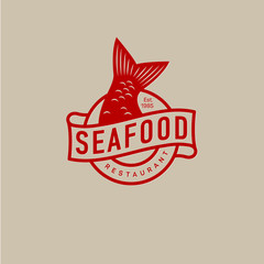 Fish tail logo. Seafood restaurant.
