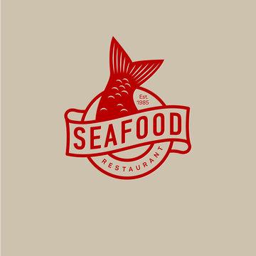 Fish tail logo. Seafood restaurant.