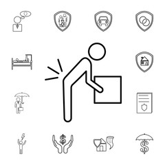 Person lifting a heavy object line icon.Element of popular Insuarance icon. Premium quality graphic design. Signs, symbols collection icon for websites, web design,