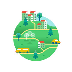 Green world with houses and eco friendly transport