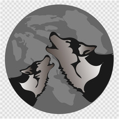 The black silhouette of a wolf on a background of the moon. The wolf howls. Vector illustration.