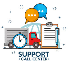 Trcuk time delivery support service vector illustration