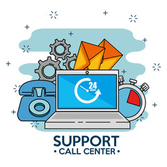 laptop with icons, support service center clock industry phone, vector illustrat