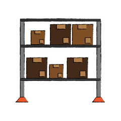 Warehouse racks with boxes icon vector illustration graphic design
