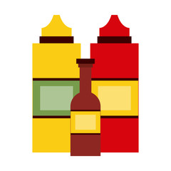 Sauces bottles isolated icon vector illustration graphic design