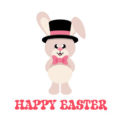 cartoon easter bunny with tie and hat and text