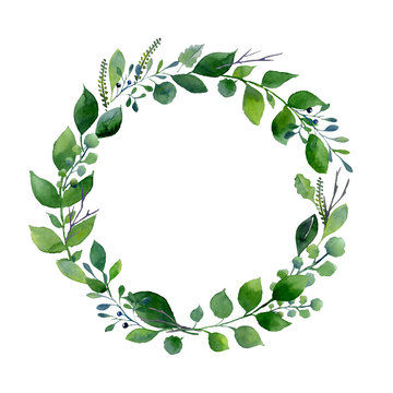 Green watercolor wreath. Composition of fresh summer foliage and tree branches