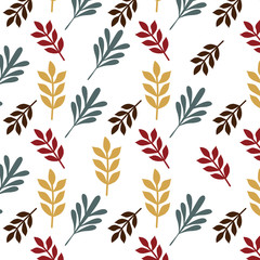 leaves retro seamless pattern isolated background vector