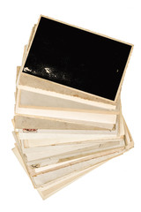 Old photo frames isolated white background Used paper sheets