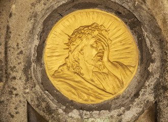 Gold face of Jesus Christ crown of thorns (bas-relief)