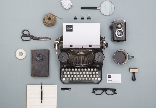 Typewriter with Devices, Stationery and Accessories Mockup 2