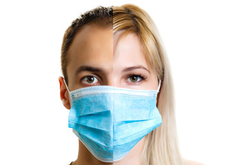 Closeup portrait of a young doctor wearing a mask isolated on white background bitcoin