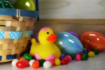 Easter Rubber duck next to basket