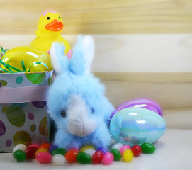 Blue Easter Bunny with Duck