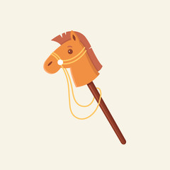 Stick horse children toy vector flat illustration