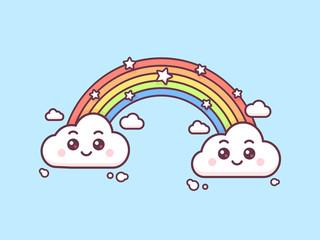 Magic rainbow with cute clouds vector kawaii style illustration