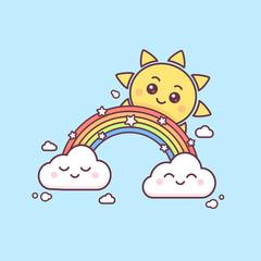 Magic rainbow with cute sun and clouds vector kawaii style illustration