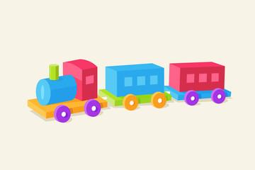 Colorful children train toy vector flat illustration